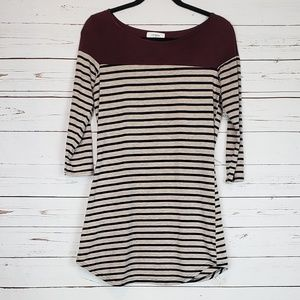 Umgee Stripe Tunic/Dress 3/4 Sleeve Size S